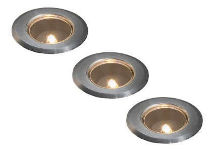 3 Stk Mini LED Bodenspots Edelstahl Ø7cm Einbaustrahler für Garten & Terrasse