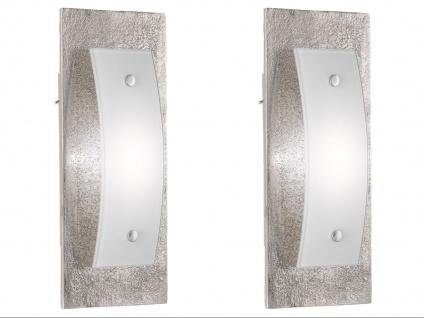 2er Set Fischer LED Wandleuchten SHINE-ALU Antik, Glas weiß, Schalter Wandlampe