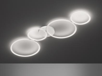 Ausgefallene Deckenlampe, flache Ringleuchte für Jugendzimmer Wohnzimmer in Weiß
