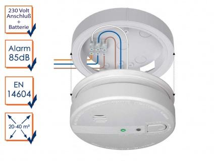 Optischer 230V Rauchmelder vernetzbar mit Montageplatte für Treppenhaus & Küche