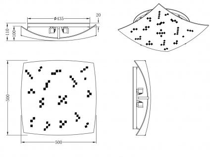 Eckige LED Deckenlampe 50x50cm, Glasschirm satiniert in weiß, grau gemustert - Vorschau 4