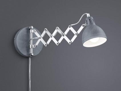 Retro Wandleuchte mit Scherengelenk und rundem Metall Lampenschirm in Grau Beton