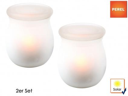 2 Solarleuchten mit Kerzenlichteffekt Ø 9cm Gartenbeleuchtung Terrassenlampe