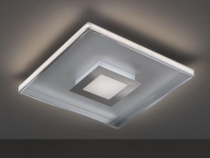 Flache LED Deckenleuchte BUG Quadrat 40cm mit Fernbedienung, Silber matt & Chrom