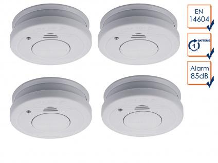 4er-SET Rauchmelder mit Batteriewarnung & Testtaste - Zulassung nach EN14604