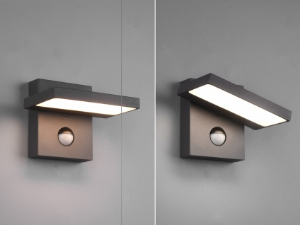 LED Außenwandleuchte Set Downlight mit Bewegungsmelder Anthrazit Terrassenlampen