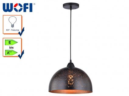 DESIGN Pendellampe Schirm Metall mit Muster braun Ø30cm, Hängeleuchte Esstisch