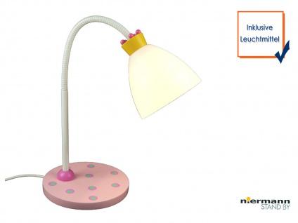 LED Leseleuchte Flexrohr KRÖNCHEN rosa/weiss LED Schreibtischlampe für Kinder