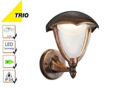 LED Außenwandlampe Laterne GRACHT rostfarbig antik, Außenbeleuchtung Haus IP54
