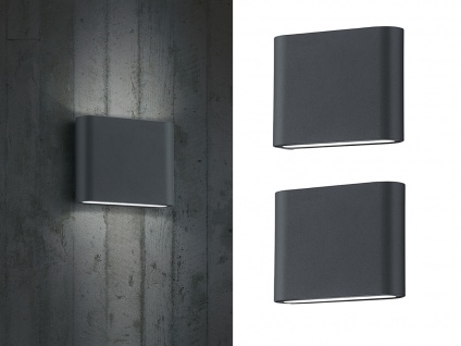 2 stk trio led wandleuchten uplight downlight anthrazit wandlampe au en innen kaufen bei. Black Bedroom Furniture Sets. Home Design Ideas