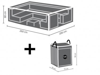 Abdeckhaubenset: Schutzhülle 260x200cm für Garten Lounge + Hülle für 6-8 Polster