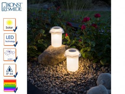 Solar LED Leuchten 2er Set Farbwechsler Erdspieß weiß Solarlampen Gartendeko