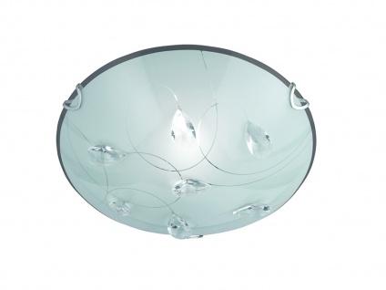 Glas Deckenschale Ø30cm aus Chrom Schirm in weiß mit ausgefallener Glasdeko E27