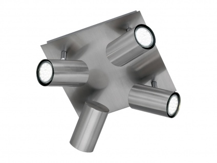 Schwenkbare 4 Spot Deckenleuchte - dimmbarer LED Strahler für Innen, Silber matt