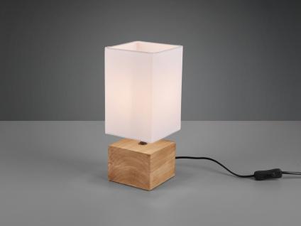 Kleine LED Tischleuchte 1 flammig Holzfuß & Stofflampenschirm Weiß Höhe 30cm