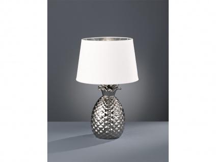 Keramik Tischleuchte Ananas Style mit Stofflampenschirm Ø28cm in Silber/Weiß E14