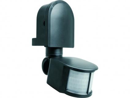 Bewegungsmelder 12m/180° in schwarz mit Schwenkarm, einstellbar, IP44