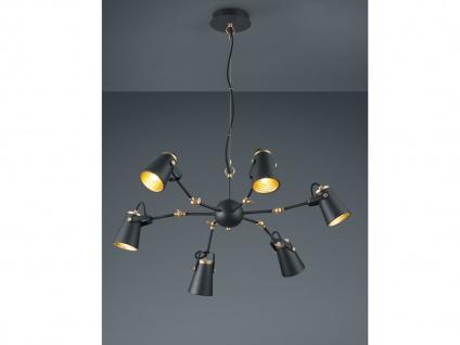 Edle Pendelleuchte in schwarz aus Metall 6 Strahler Pendellampe Esstischlampen