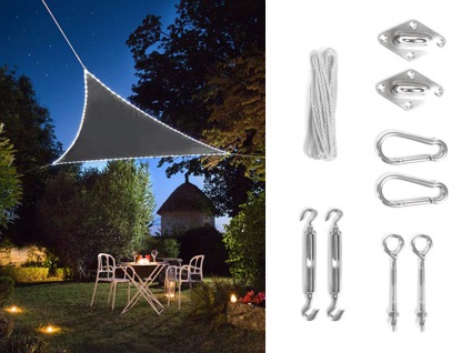 Solar Sonnensegel LED Dreieck Terrassensegel in Grau 5, 6m² & Ösenset für Balkon