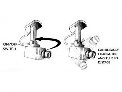 Überwachungskamera Dummy Attrappe mit LED blinkend, Bewegungsmelder & Drehmotor - Vorschau 3