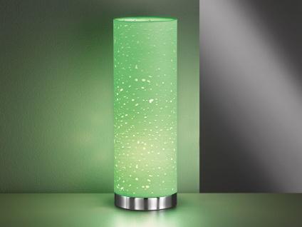 Kleine Tischlampe E14 chrom mit Lampenschirm Stoff grün, Nachttischlampe Design