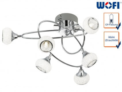 LED Deckenleuchte Chrom poliert 6 drehbare Spots, Deckenleuchte Wohnzimmer Diele