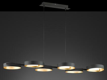 Design LED Pendelleuchte Schwarz/Blattgold-Optik höhenverstellbar - Esszimmer - Vorschau 5