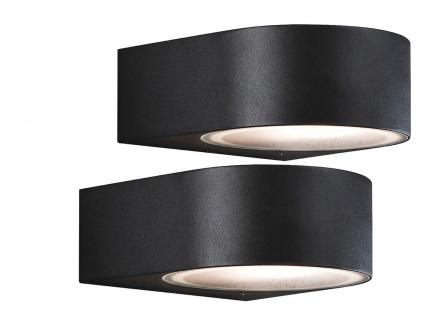 2er-Set stilvolle Wandleuchten TERAMO, E27, Aluminium schwarz H: 7cm