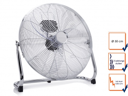Bodenventilator Ø 50cm 140W 3 Stufen Gebläse Windmaschine Luftkühler Lüfter
