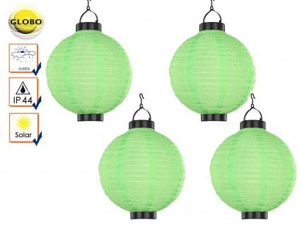 4er Set LED Solarleuchten Lampion grün 25, 5cm, Beleuchtung Terrasse Garten