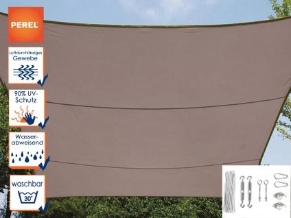 Sonnensegel Rechteckig 3x4m Braun mit Ösen für Balkon Terrasse Sonnenschutzsegel
