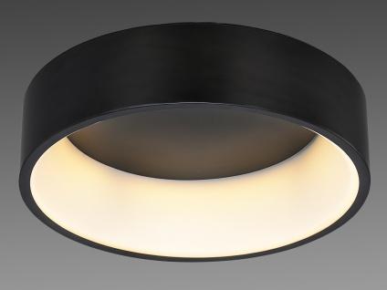 Große runde LED Deckenleuchte mit schwarzem Metallschirm - Lampe fürs Wohnzimmer