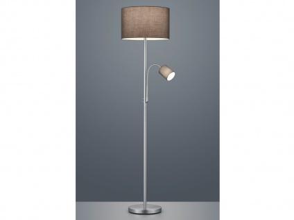 Stehleuchte mit Leselampe Stoffschirm grau für Wohnzimmer Stehlampen zum Lesen