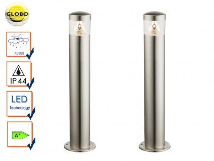 2 Stk. LED Außenleuchten Edelstahl, Wegeleuchte Pollerleuchte Außenbeleuchtung