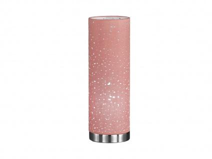 Kleine LED Tischlampe chrom mit Lampenschirm Stoff pink, Nachttischlampe Design