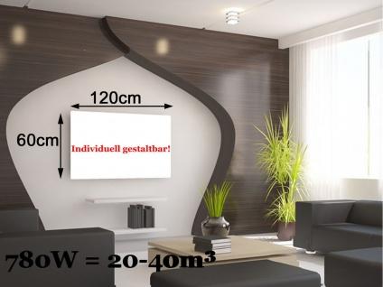 Infrarotheizung, Elektroheizung 780W, 100x60 cm, Hochglanz weiß, Vitalheizung