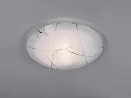 LED Deckenleuchte rund Ø40cm Dekorglas in weiß mit Streifendesign Nurglasleuchte