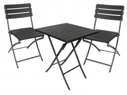 Klappmöbelset in Holzoptik schwarz - zusammenklappbare Gartenmöbel Campingmöbel