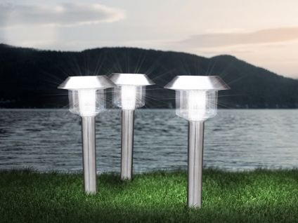 Solarbetriebene Erdspießleuchten für draußen - LED Wegeleuchten im 3er SET, IP44