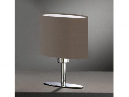 Designklassiker: Schöne LED Tischlampe Silber mit Lampenschirm oval Stoff Braun - Vorschau 3
