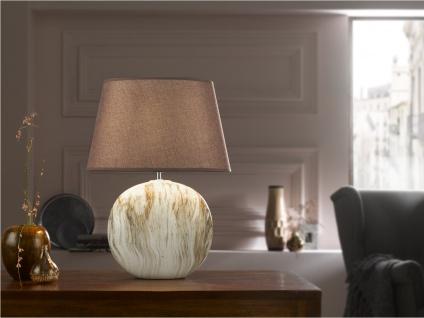 Tischleuchte HILL Strukturstoff braun Höhe 48cm Wohnzimmerlampe Honsel-Leuchten