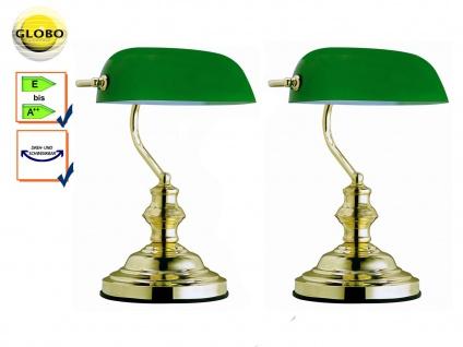 2x Globo Tischlampe ANTIQUE, Bankerlamp Glas grün, Retro Vintage Tischleuchten