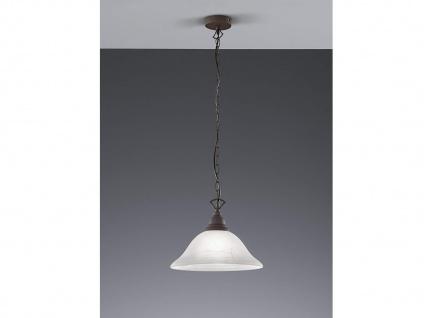 LED Pendelleuchte Landhaus1 flammig Metall in Rost, Schirm Glas Alabaster Ø33cm