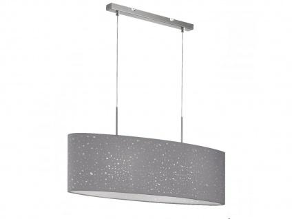 LED Pendelleuchte dimmbar, Stoffschirm oval grau Dekor, E27 Pendel Esstischlampe