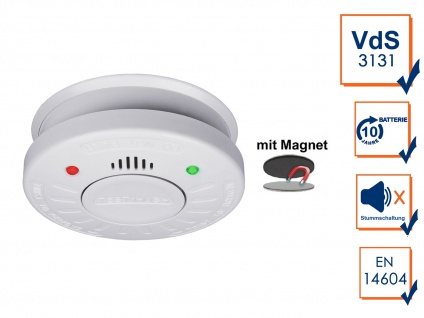 10 Jahres Rauchmelder VdS Zertifiziert - Stummschaltfunktion + Magnetbefestigung