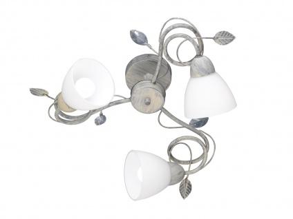 Graufarbige Tischlampe mit Antik Look Blätter Motiv & E14 Sockel, Metall & Glas - Vorschau 1