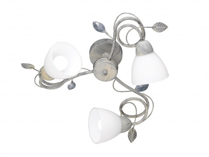 Graufarbige Tischlampe mit Antik Look Blätter Motiv & E14 Sockel, Metall & Glas