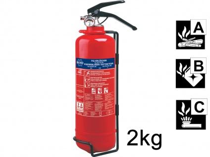 Handlicher Pulverlöscher 2kg, Brandklasse A, B, C, Manometer, Halterung
