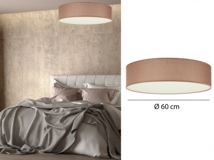 Runde LED Deckenleuchte Ø60 mit braunem Stoffschirm - Lampenschirm Deckenlampen