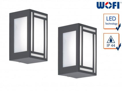 2x LED Außenwandleuchte Edelstahl Kunststoff Wandlampe außen Fassadenbeleuchtung